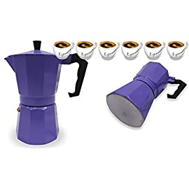 Italian Espresso Stove Top Coffee Maker Pot 6 Cup purple
