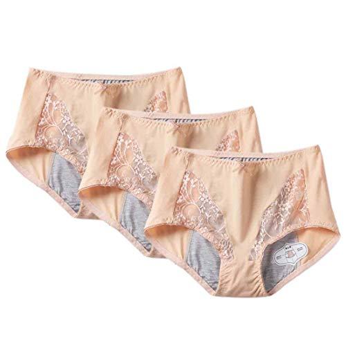 Aiweijia Damen Baumwollmischung Hohe Taille Bequeme Stretch Menstruation Boyshort Physiology Unterhose / 3er Pack