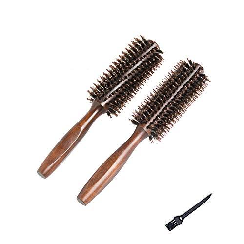 2er Set Haarbürste Rundbürste mit Naturhaar Wildschweinborsten Haar Kamm für Damen Herren Kinder Hair Drying, Styling, Curling (Durchmesser 5cm(1.968Inch)) -