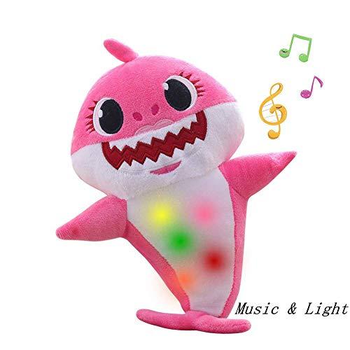 Baby Shark Offizieller Gesang Plüsch, Enjoyfeel Soft Music Sound Baby Doll Gefüllte Plüsch Spielzeug Gesang Englisches Lied für Junge Mädchen (Pink)
