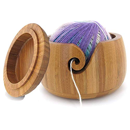 JasCherry Ovillo lana Cuenco Bambú Gancho Tapa -