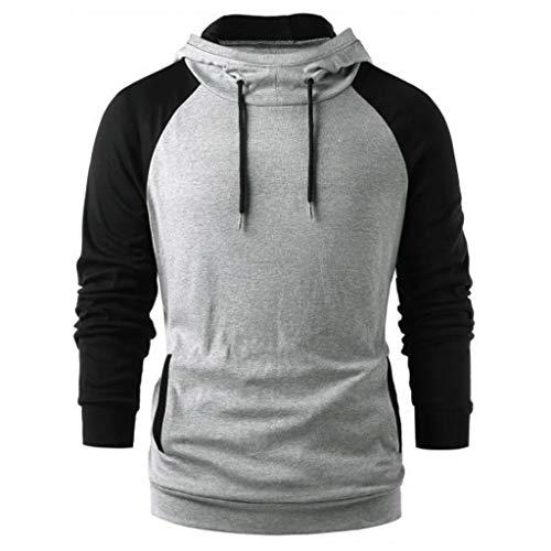 LSAltd Herbst Männer Mode Farbe Patchwork Slim Fit Kapuzenpullover Bluse Beiläufige Kurze Langarm Pullover Mit Tasche