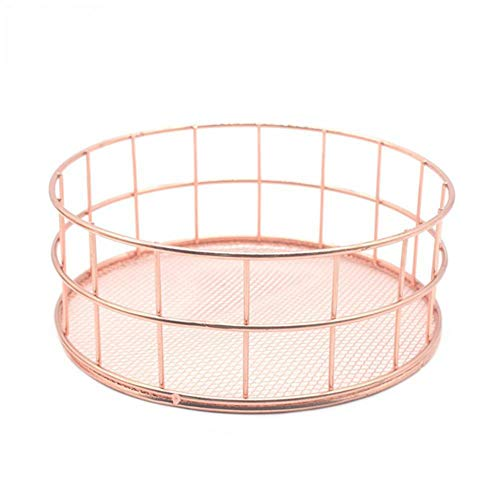 Weesey Nordic Rose Gold Iron Wire Storage Basket Wire Storage Bin Makeup Organizer Jewelry Sundries Storage Tray