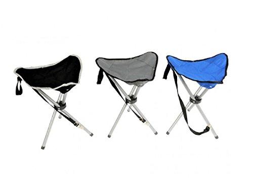 3 Falthocker Set Camping Stuhl faltbar in 3 Farben Grau Blau Schwarz Dreibein Hocker