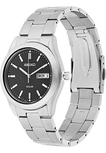 Seiko Herren-Armbanduhr Solar Analog Quarz, Solar One Size, schwarz, silber (Seiko Uhr Silber-herren)