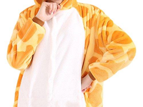Aivtalk - Unisexe Adulte Costume Cosplay Combinaison Pyjama Animaux - Costume Outfit Onesie en Flanelle - Taille S/M/L/XL-Girafe/Grenouille/Vache Girafe