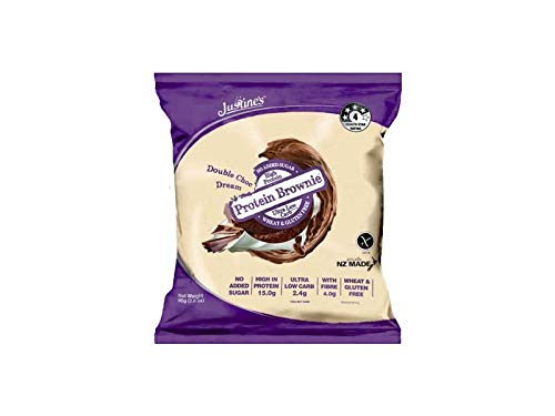 Justine's Double Chocolate Dream Brownie, Soft Baked High Protein Healthy Snack Cookie, Ultra Low Carb, No Added Sugar, No Gluten or Wheat, Made in New Zealand (2.82 Ounce, 12 Pack)