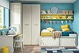 Habitación Vita 11 Cama con Mucho Espacio para Juguetes, estantería de Pared, Generoso Armario esquinero, Escritorio, Elegir