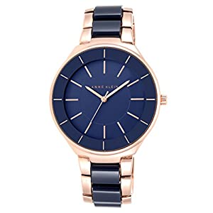 Anne Klein Women's Savannah Quartz Watch with Blue Dial Analogue Display and Navy Resin Bracelet AK/N1970RGNV