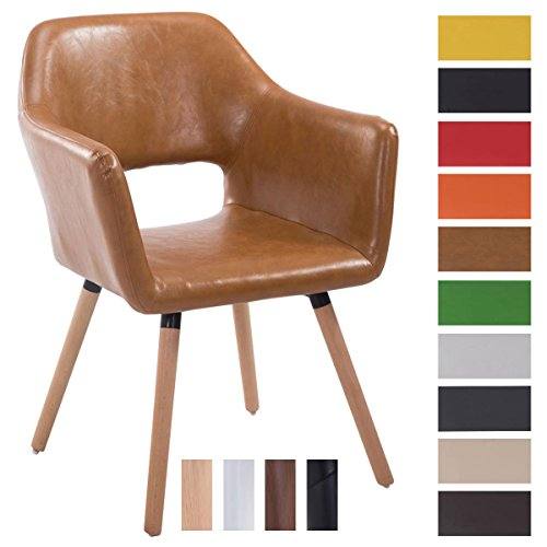 CLP Chaise de visiteur AUCKLAND en simili-cuir ,avec accoudoirs, poids admis max 160 kg, piètement en bois, capouchons protège-sol marron clair, Piètement: nature