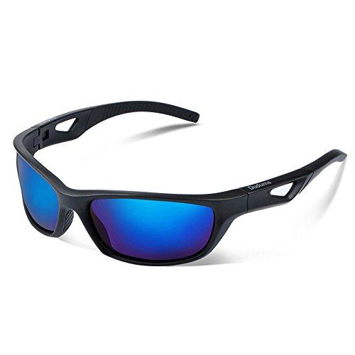 Duduma Gafas de Sol Deportivas Polarizadas Para Hombre Perfectas Para Esquiar Golf Correr Ciclismo TR821 Súper Liviana Para Hombre y Para Mujer (marco mate negro con lente azul)