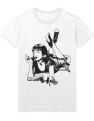Hypeshirt T-Shirt Pulp Fiction MIA Wallace Smoking C123455 Weiß M