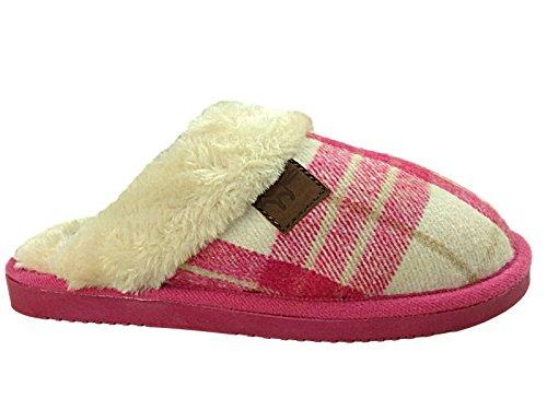Damen Wicklow Tartan Rand Kunstpelz Slip Auf Maultier-hausschuhe Schuhe Größe Eu 36-41 Rose