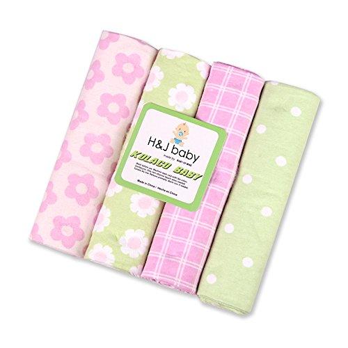 Harson&Jane Premium Qualität 100% Baumwolle Weich und Kuschelig Fingerabdrücke Baby Decken 4 er packung ( 76×76 cm, 08) (Vier Licht 08)