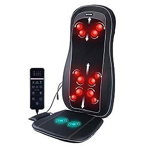 ZEROVIDA Shiatsu-Massagesitz, elektrisches Rückenmassagegerät mit Wärme 3D-Knet- und Vibrations-3D-Massagesitzkissen lindert Schmerzen, Shiatsu-Massagegerät für das Auto im Büro zu Hause