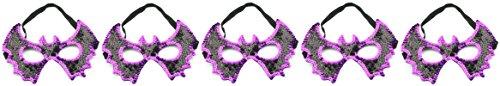Zest 5Pailletten Fledermaus Masken Halloween Party Schwarz & Violett