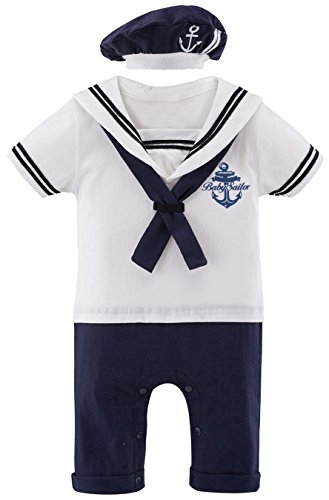 MOMBEBE COSLAND Baby Jungen Matrose Kostüm Strampler with Hüte (3-6 Monate / 80 UK, ()