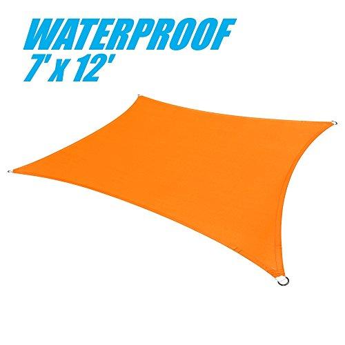 colourtree 100% Blockade Wasserdicht 7'x 12' Sonne Segel Himmel Rechteck orange-gewerblichen Standard Heavy Duty-220gsm-4Jahre Garantie -