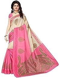 Kanchan Textiles Women's Silk Cotton Saree With Blouse Piece (KSH_ DULHANIYA PINK _Multi-Coloured_ Free Size)