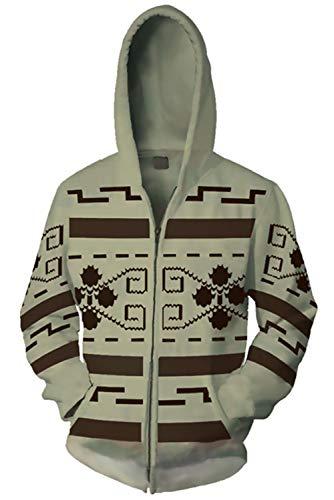 Dude Big Lebowski Kostüm - MingoTor Herren Damen Kapuzenjacke Pullover mit Kapuze Sweatjacke Hoodie Cosplay Kostüm Grau XXL