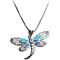 ZHJBD Fine jewelry/Women Pendant White Gold Plated Blue Opal Butterfly Dragonfly for Girl Girlfriend Lover 45X4.4X2.8CM