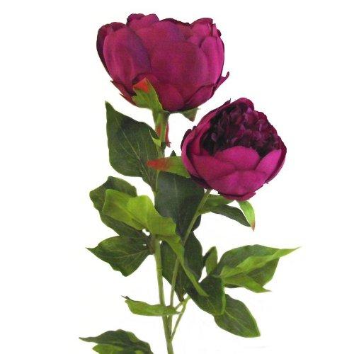 Pivoine artificielle 80 cm double tige de fleur - Rose Foncé