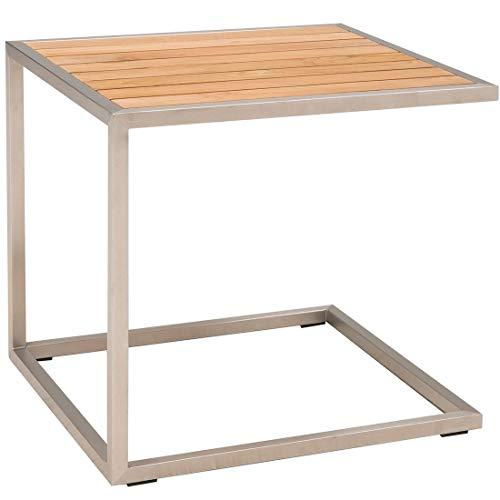 OUTLIV. Gartentisch Pasadena Beistelltisch 45x50x45cm Edelstahl/Teak Outdoor Tisch -