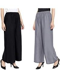 Aarju Fashion Women's Rayon Pant Palazzo Combo (Black and Grey, Free Size)