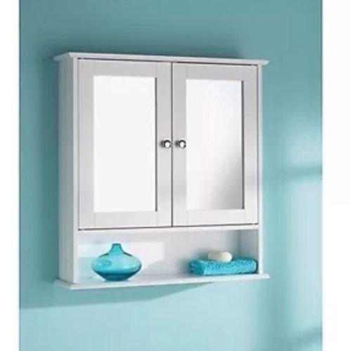 Generic White Wooden Double Mirror Door Indoor Wall Mountable Bathroom Cabinet Shelf NEW lt;1amp;2934*1gt;