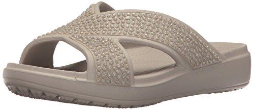 Crocs Damen Sloane Embellished Xstrap Sandalen Flipflops, Grau (Platinum), 41-42 EU