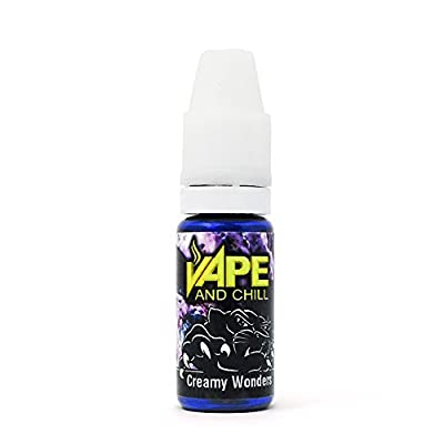 E Cigarette Liquid Creamy Wonders (Blueberry Cream) Non-Nicotine Vaping Juice by Vape and Chill 70-30 VG-PG (10ml Plastic Bottle) by Vape and Chill