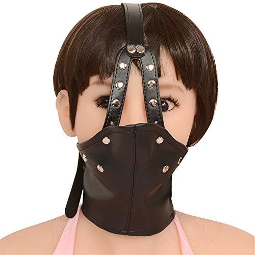 Fetisch Maske Kopfhaube, Abschließbare Augenbinde Mundknebel Kostüm Bondage Erwachsene Sex Toys Frauen ()