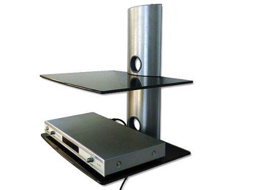 Supporto a Muro LETTORE BLURAY-DVD RICEVITORE SATELLITARE IMPIANTO HIFI CONSOLE (PER SAMSUNG PHILIPS SONY LG PANASONIC GRUNDIG ACER THOMSON TELEFUNKEN BLAUPUNKT TOSHIBA - TV LED LCD TFT Plasma Full-HD 3D) - Con 2 Ripiani in Vetro Nero: Modello: GL2