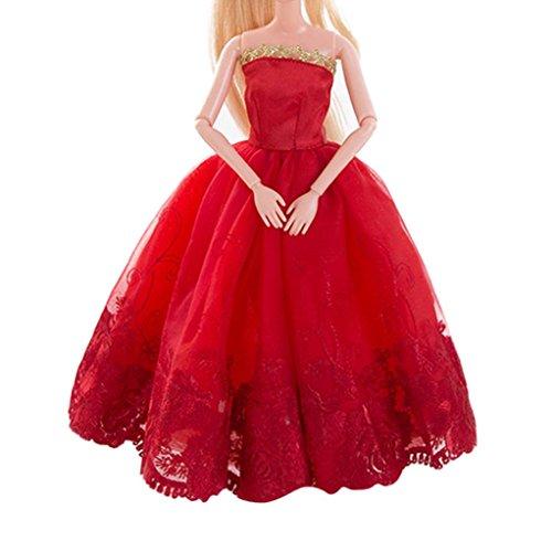BZLine® Red Hochzeitskleid für Barbie Doll Abend Party Kleidung für Puppe (B) (In Puppe Kleidung 16)