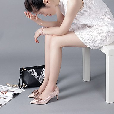 Moda Donna Sandali Sexy donna tacchi Primavera / Autunno tacchi / Punta Casual Tulle Stiletto Heel Bowknot Nero / Grigio / Mandorla Altri Black