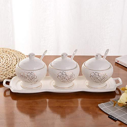 Cwllwc barattoli portaspezie, struttura in ceramica condimento contenitore di cucina con piatto in porcellana tre pezzi set