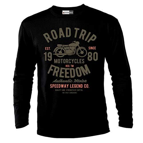 Ekate Road Trip Motorcycle Chopper Motocross Racer Racing Bike Biker Motorrad Langarmshirt Longsleeve T-Shirt (XL, Schwarz) (Trip Road Motorrad)