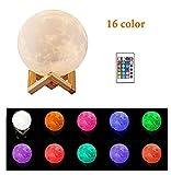 Lampe Luna, Chengxi Light Nachtlicht 3d Magische Moon LED Tischleuchte, kabellos mit USB Akku, mit Fernbedienung, als Geschenk zu Geburtstag oder Geschenk für Jahrestag, Durchmesser 15cm