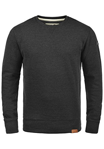 !Solid Trip O-Neck Herren Sweatshirt Pullover Pulli Mit Rundhalsausschnitt Und Fleece-Innenseite, Größe:L, Farbe:Dark Grey Melange (8288)