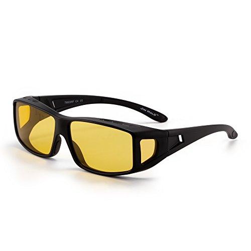 JIM HALO Fit Over Polarisiert Sonnenbrille Überziehen Nacht fahren Brille Damen Herren(Schwarz/Polarisiertes Gelb)