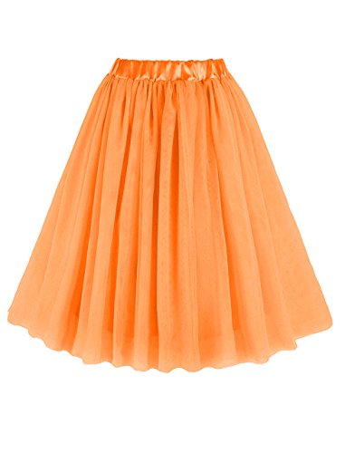 CoutureBridal® Damen Tüll Rock 3 Layer Knielanger Rock Elastic Bund Tutu Orange