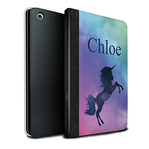 t Individuell Handschrift Fantasy Einhorn PU-Leder Hülle für Apple iPad Mini 1/2/3 / Neon Ombre Funkeln Design/Initiale/Name/Text Tablet Schutzhülle/Tasche/Etui ()