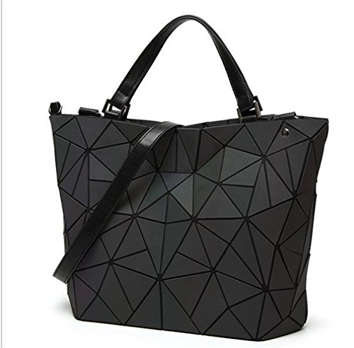 Yueling Frauen Geometrie Lattic Totes Bag gesteppte Kette Schultertasche Laser Plain Folding Handtaschen Bolso luminous big
