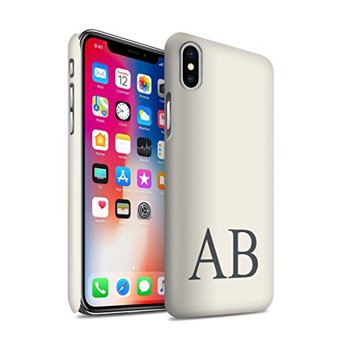 Personalisiert Pastell Monogramm Matte Hülle für Apple iPhone X/10 / Türkis Design / Initiale/Name/Text Snap-On Schutzhülle/Case/Etui Elfenbein