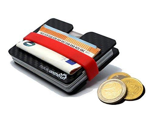 MOTRTM Portafoglio minimalista da 5mm con scomparto (Reale Fibra di Carbonio). Sistema di protezione anti NFC e RFID. (porta carte di credito sottile, portafoglio sottile da uomo, portafoglio piccolo)