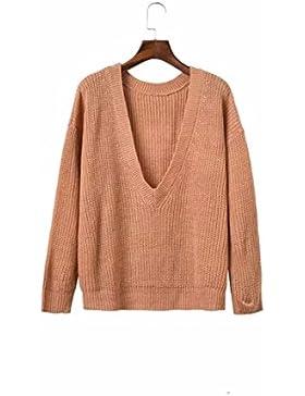yall La Mujer Suelto Suéter Cuello Tortuga Cuello V Suéteres Casuales