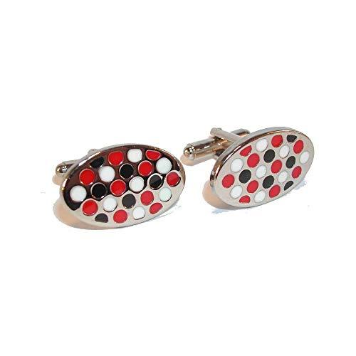 Cravate Avenue Signature - Boutons De Manchette, Oval Blanc Noir Rouge