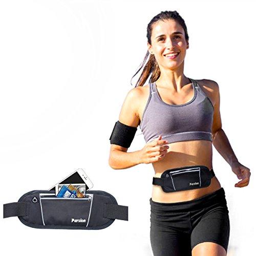 Running Belt, Parsion Lightweight Running Waist Bag with 2 Zipped Pockets, All Mobile Phones Size Below 5.5 inch Phone Belt, Comfortable Waistbelt for Running Trail and Hiking--Hiking Waistpacks (Black)