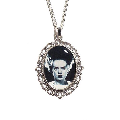 LunarraStar Damen Gothic Frankensteins Braut Bild Anhänger-Halskette aus Versilbert Oval