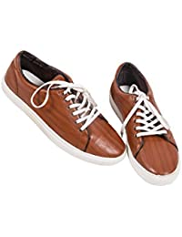 Bewakoof Men's Classic Brown Low Top Lace Up Sneakers Shoes